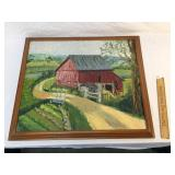 Original Oil on Board, Country Barn by Ruth Silber