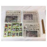 Lot of 5 Baseball Related Items, Newspapers and Tr