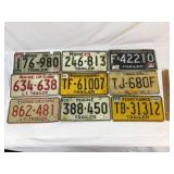 Lot of 9 License Plates, Vintage