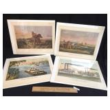 Lot of 4 Prints by Currier and Ives and N. Currier