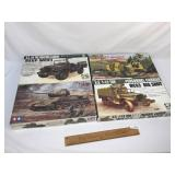 Lot of 4 Plastic Model Kits, Military Vehicles