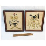Lot of 2 Framed Embroidery Bird Designs, Vintage