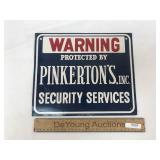 Metal Sign, Warning Pinkerton
