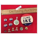 Lot of 12 Political Pins, Vintage or Antique