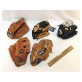 Lot of 6 Leather Baseball Gloves