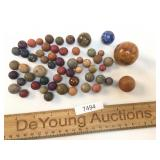 Lot of 50 Clay Marbles, Antique