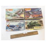 Lot of 4 Plastic Model Kits, Military