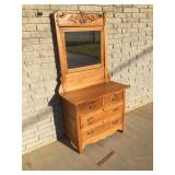 Oak Dresser with Mirror, Antique