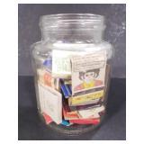 Jar of vintage matchbooks