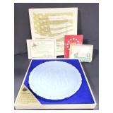 Handmade Fenton glass bicentennial plate & stamps