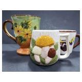 Trio of unique ceramic mugs