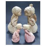 4 ceramic kissing angels