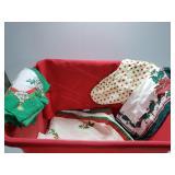 Box lot of Christmas linens