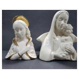 Pair of the Virgin Mary ceramic planters