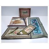 Asian fabric decor w/ framed art & scroll