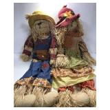 Large Mr & Mrs stuffed scarecrows