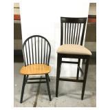 High back bar stool & wood chair