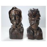 Spanish made hard wood mini bust pair