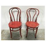 Vintage red bentwood chair pair