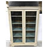 Antique painted wood display cabinet