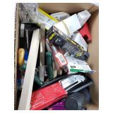 Box lot of assorted hardware and office supplies