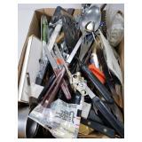 Large box lot of kitchen utensils