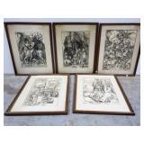 5 framed vintage Albrecht Durer art prints