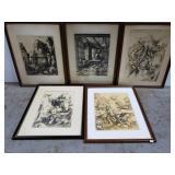 5 framed vintage Albrecht Durer prints