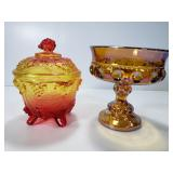 2 vintage Amber Carnival glass dishes