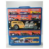 Rolling Hot Wheels case with 20 cars