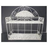 White wire and woven shelf rack