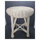 Small white wicker stool