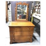 Vintage maple wood dresser w/ mirror