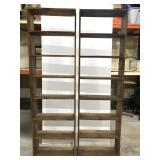 Two 7 foot wood shelves