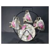 Small floral tea set with rack