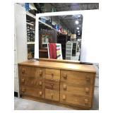 Mid century modern wood dresser w/ mirror
