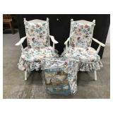 Floral chair pair w/ matching queen comforter