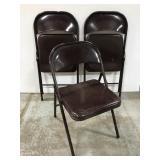 3 metal folding chairs