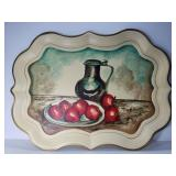 Large metal hand painted tray