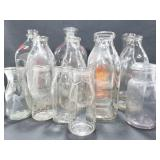 14 assorted vintage milk jug glass bottles