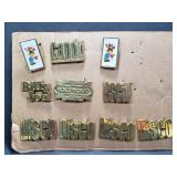 10 vintage brass belt buckles