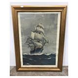 Nautical ship high seas framed print