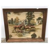 Deer wildlife 3D framed fabric art
