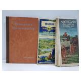 Vintage Michigan road maps & horsemanship book