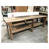Huge old heavy oak wood work bench table