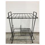 Black wire organizational floor rack