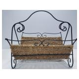 Metal & woven rope fire wood kindling rack