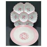 Pink rose floral ceramic tray & bowl