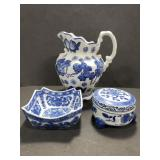 Blue pattern ceramic pitcher, dish & trinket box