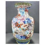 Large metal floral vase